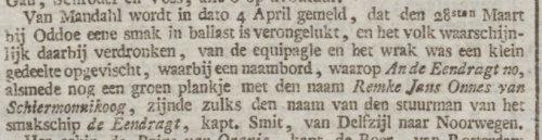 1834-05-01 - Opregte Haarlems Courant - vergaan smakschip Eendracht oa Remke Jans Onnes - 500x