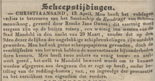 1834-05-05 - Algemeen Handelsblad - scheeptijdingen oa Remkes Jans Onnes - 500x